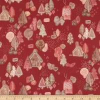 Marketa Stengl Double Brushed Stretch Poly Jersey Knit Hansel and Gretel Holiday Print Red