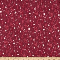 Marketa Stengl Double Brushed Stretch Poly Jersey Knit Holy Night with Trees and Stars Burgundy