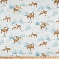 Northcott Frosted Woodland Deer All-Over Light Blue Multi