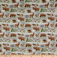 Northcott Lakeside Lodge Animals Gray Multi