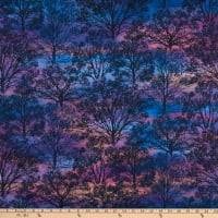 Northcott The View From Here 2 Tree Silhouette Violet Multi