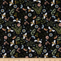 Northcott Bee Kind Floral and Bee Toss Black Multi