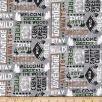 Wilmington Cabin Welcome Flannel Word Toss Gray