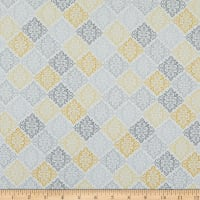 Contempo Words To Quilt By Damask Medallion Grey/Yellow