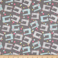 Contempo Words To Quilt By Sewing Machines Grey