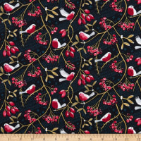 Marketa Stengl Digital Birds on Berry Branches Midnight/Red