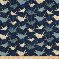 Fabric Merchants Marketa Stengl Digital Japanese Origami Paper Crane and Cherry Blossom Blue/Gold
