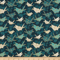 Fabric Merchants Marketa Stengl Digital Japanese Origami Paper Crane and Cherry Blossom Green/Gold