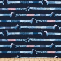 Fabric Merchants Marketa Stengl Digital Sashiko Style Dachshund Navy/Pink