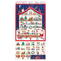 "Makower UK Let It Snow Santa's Worskhop Advent Calendar 24"" Panel Multi"