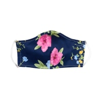 Fabtrends Cotton Sateen Facemask Floral Navy/Pink