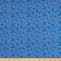 Felicity Fabrics Honey Blossom Indigo Waving Leaves Blue