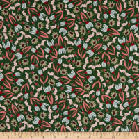 Felicity Fabrics Honey Blossom Crimson Multi Floral Green