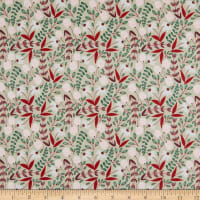 Felicity Fabrics Honey Blossom Crimson Drifitng Flowers Gray