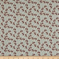Felicity Fabrics Honey Blossom Crimson Waving Leaves Coral