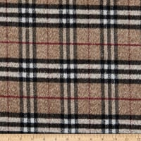 Fabric Merchants Plaid Wool Melton Stone/Black/White