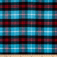 Fabric Merchants Plaid Wool Melton Blue/Red/White