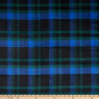Fabric Merchants Plaid Wool Melton Royal/Green