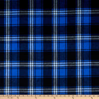Fabric Merchants Plaid Wool Melton Sapphire/Grey