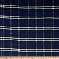 Fabric Merchants Plaid Wool Melton Navy/White/Red