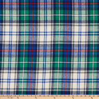 Fabric Merchants Plaid Wool Melton Blue/Lime/Red