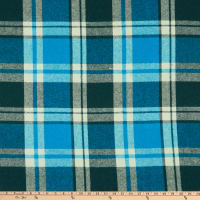 Fabric Merchants Plaid Wool Melton Dark Green/Ivory