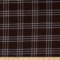 Fabric Merchants Plaid Wool Melton Brown/Cream