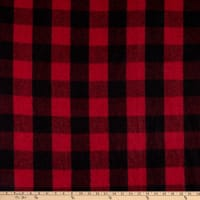 Fabric Merchants Plaid Wool Melton Red/Black