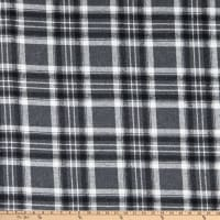 Fabric Merchants Plaid Wool Melton Grey/White