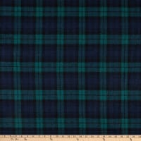 Fabric Merchants Plaid Wool Melton Green/Navy