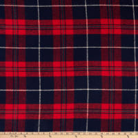 Fabric Merchants Plaid Wool Melton Red/Navy