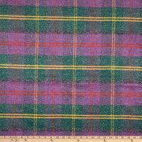 Fabric Merchants Plaid Wool Melton Purple/Green