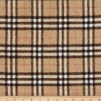 Fabric Merchants Plaid Wool Melton Sand/Cream