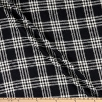 Fabric Merchants Plaid Wool Melton Metallic Black/White