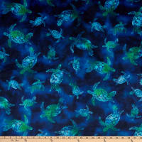 Shannon Studio Digital Minky Cuddle Batik Turtles Green Sea