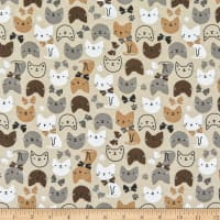 Whistler Studios Cubby Bear Flannel Just Kitten Around Tan