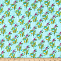 Windham Fabrics Bubbie's Buttons & Blooms Grandma Olive's Nosegay Turquoise Icing