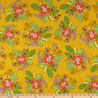 Windham Fabrics Bubbie's Buttons & Blooms Grandma Sharon's Bouquet Curry