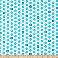 Windham Fabrics Bubbie's Buttons & Blooms Polka Dot Buttons Turquoise Icing