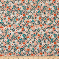 Felicity Fabrics Hemma Turquoise Floral Scent Coral