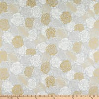 Kaufman Silverstone Packed Flowers Metallic Taupe