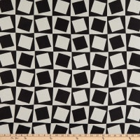 Fabric Merchants Silk Blousewear Chiffon Geometric Pattern Black/White