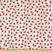 Fabric Merchants Double Brushed Poly Jersey Ditsy Floral Ivory/Red