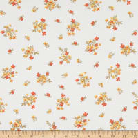 Fabric Merchants Double Brushed Poly Stretch Jersey Knit Mini Floral Bouquet Ivory/Olive/Rust