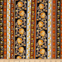 Fabric Merchants Double Brushed Poly Stretch Jersey Knit Bohemian Floral Mustard/Black