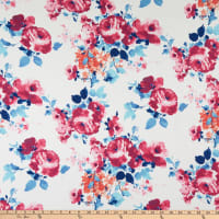Fabric Merchants Double Brushed Poly Stretch Jersey Knit Large Floral Ivory/Pink/Blue