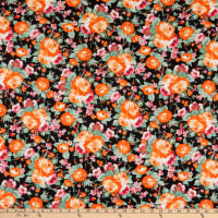 Fabric Merchants Double Brushed Poly Stretch Jersey Knit Floral Black/Coral/Mint