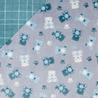 Plush Fleece 2 Sided Teddy Plaid Blue