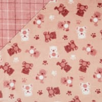 Plush Fleece 2 Sided Teddy Plaid Rose