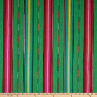 Tribal Stripe Woven Dobby Green/Red/Fuchsia